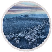 Round Beach Towel featuring the photograph Ice Chunks by Bill Kesler