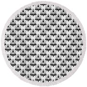 Cats And Catnip Pattern Round Beach Towel