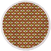 Bees And Honeycomb Pattern Round Beach Towel by MM Anderson