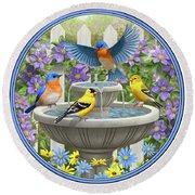 Fountain Festivities - Birds And Birdbath Painting Round Beach Towel by Crista Forest