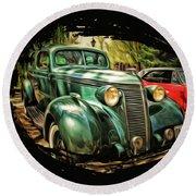 One Cool 1937 Studebaker Sedan Round Beach Towel
