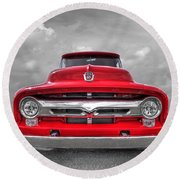 Red Ford F-100 Head On Round Beach Towel