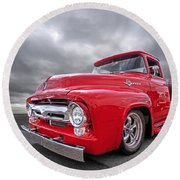Red F-100 Round Beach Towel