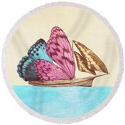 Butterfly Ship Round Beach Towel