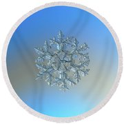 Round Beach Towel featuring the photograph Snowflake Photo - Gardener's Dream by Alexey Kljatov