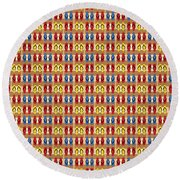 Flip Flops Stripes Graphic In Primary Colors Round Beach Towel by MM Anderson