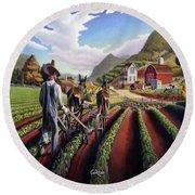 Appalachian Folk Art Summer Farmer Cultivating Peas Farm Farming Landscape Appalachia Americana Round Beach Towel