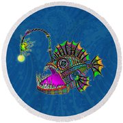 Round Beach Towel featuring the drawing Electric Angler Fish by Tammy Wetzel
