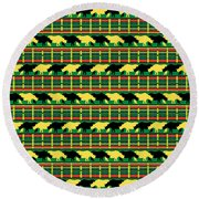 Rhinoceros Safari Weave Round Beach Towel by MM Anderson