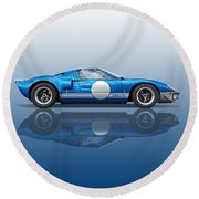 Blue Reflections - Ford Gt40 Round Beach Towel