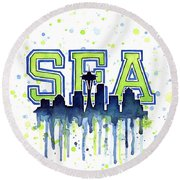 Seattle Watercolor 12th Man Art Painting Space Needle Go Seahawks Round Beach Towel by Olga Shvartsur