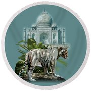 White Tiger And The Taj Mahal Image Of Beauty Round Beach Towel