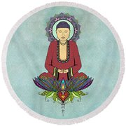 Round Beach Towel featuring the drawing Electric Buddha by Tammy Wetzel