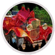 The Red Bell Roadster Round Beach Towel