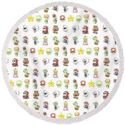 Mario Characters In Watercolor Round Beach Towel