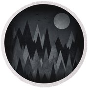 Dark Mystery Abstract Geometric Triangle Peak Woods Black And White Round Beach Towel