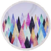 Colorful Abstract Geometric Triangle Peak Woods  Round Beach Towel