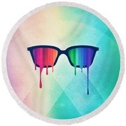 Love Wins Rainbow - Spectrum Pride Hipster Nerd Glasses Round Beach Towel