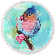 Round Beach Towel featuring the mixed media Love Bird by Sheena Pike