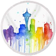 Seattle Rainbow Watercolor Round Beach Towel by Olga Shvartsur