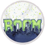 Seattle 12th Man Legion Of Boom Painting Round Beach Towel by Olga Shvartsur