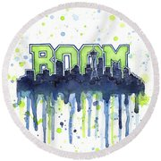 Seattle 12th Man Legion Of Boom Watercolor Round Beach Towel by Olga Shvartsur