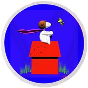 Snoopy Evades The Red Baron Round Beach Towel