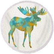 Moose Watercolor Art Round Beach Towel