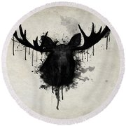 Moose Round Beach Towel by Nicklas Gustafsson