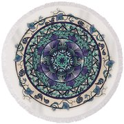 Morning Mist Mandala Round Beach Towel