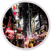 New York City Night II Round Beach Towel by Nicklas Gustafsson