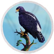 Verreaux's Eagle  Round Beach Towel by Anthony Mwangi