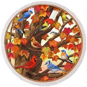 Maple Tree Marvel - Bird Painting Round Beach Towel by Crista Forest