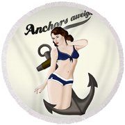 Anchors Aweigh - Classic Pin Up Round Beach Towel