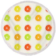 Juicy Citrus Round Beach Towel