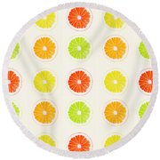 Juicy Citrus Round Beach Towel by Little Bunny Sunshine