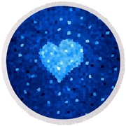 Winter Blue Crystal Heart Round Beach Towel