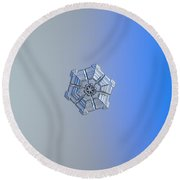 Round Beach Towel featuring the photograph Snowflake Photo - Winter Fortress by Alexey Kljatov