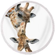 Mother And Baby Giraffe Round Beach Towel by Sarah Batalka