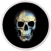 Round Beach Towel featuring the digital art Swedish Skull by Nicklas Gustafsson