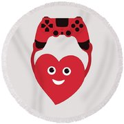 Gamer Heart Round Beach Towel