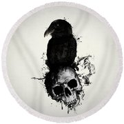 Raven And Skull Round Beach Towel by Nicklas Gustafsson