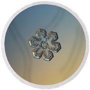 Round Beach Towel featuring the photograph Snowflake Photo - Massive Gold by Alexey Kljatov