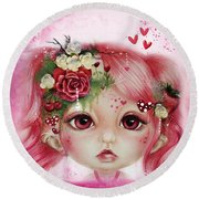 Round Beach Towel featuring the drawing Rosie Valentine - Munchkinz Collection  by Sheena Pike