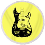 Fender Stratocaster Blackie 77 Round Beach Towel by Mark Rogan