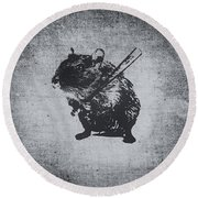 Angry Street Art Mouse  Hamster Baseball Edit  Round Beach Towel by Philipp Rietz