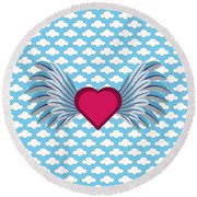 Winged Heart In A Cloudy Blue Sky Round Beach Towel by MM Anderson