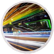 Round Beach Towel featuring the photograph Light Trails 1 by Nicklas Gustafsson