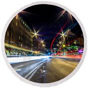 Round Beach Towel featuring the photograph Light Trails 2 by Nicklas Gustafsson