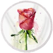 Rose Watercolor Round Beach Towel